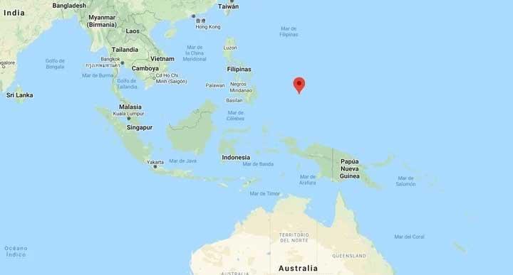 La ubicación de Palaos en el Pacífico.